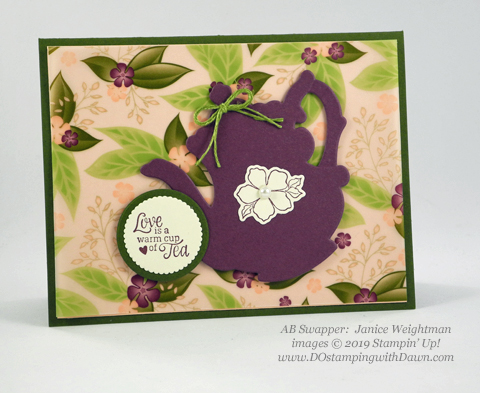Stampin' Up! Tea Together stamp set and coordinating Sale-a-Bration Tea Time Framelit Dies shared by Dawn Olchefske #dostamping #howdshedothat #stampinup #handmade #cardmaking #stamping #papercrafting (Janice Weightman)
