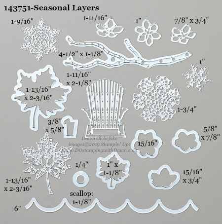 Stampin' Up! Seasonal Layers Dies sizes shared by Dawn Olchefske #dostamping #stampinup #papercrafting #diecutting #stampindies