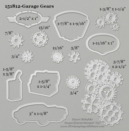Stampin' Up! Garage Gears Dies sizes shared by Dawn Olchefske #dostamping #stampinup #papercrafting #diecutting #stampindies