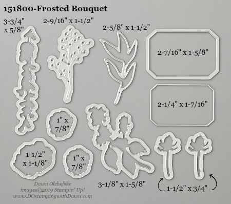 Stampin' Up! Frosted Bouquet Dies sizes shared by Dawn Olchefske #dostamping #stampinup #papercrafting #diecutting #stampindies