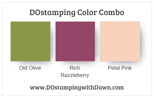 Stampin' Up! Color Combo Old Olive, Rich Razzleberry, Petal Pink from Dawn Olchefske #dostamping #lstampinup #colorcombo