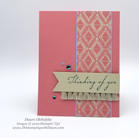 Stampin' Up! Woven Threads DSP card by Dawn Olchefske for DOstamperSTARS Thursday Challenge #DSC321 #dostamping #stampinup #handmade #cardmaking #stamping #papercrafting