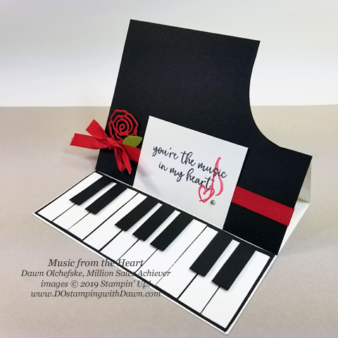 Grand Piano Easel Card featuring the NEW Music from the Heart Stamp Set coming 1/3/2020 by Dawn Olchefske #dostamping #howdshedothat #stampinup #handmade #cardmaking #stamping #papercrafting  #funfoldcard