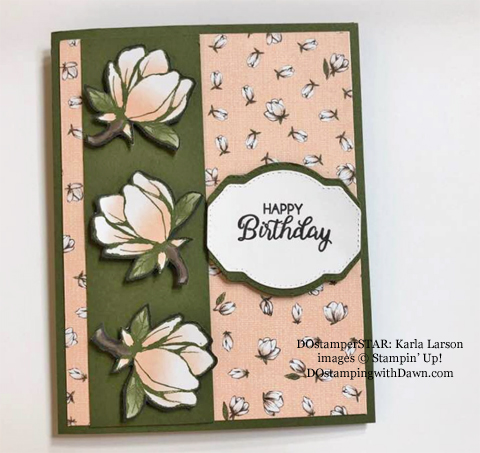 Stampin' Up! Designer Series Paper Sale featuring Magnolia Lane Designer Series Paper shared by Dawn Olchefske #dostamping #stampinup #papercrafting (Karla Larson)