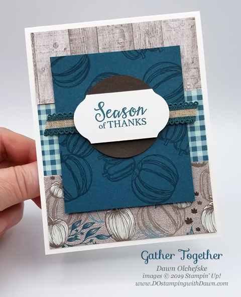 Stampin' Up! Holiday Catalog Gather Together stamp set card from Dawn Olchefske #dostamping #howdshedothat #stampinup #handmade #cardmaking #stamping #papercrafting #thanksgiving #cometogather