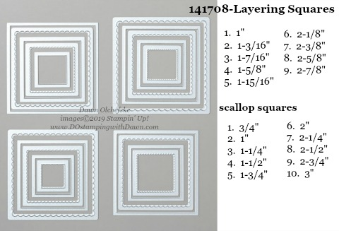 Stampin' Up! Layering Squares Dies sizes shared by Dawn Olchefske #dostamping #stampinup #papercrafting #diecutting #stampindies