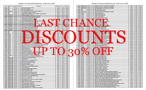 Stampin' Up! Last Chance Discounts up to 30% off #dostamping #papercrafting #craftsupplies
