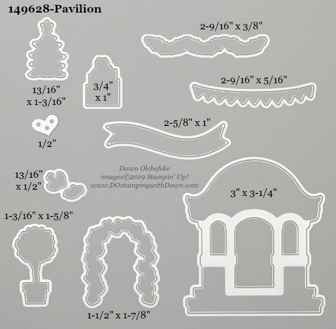 Stampin' Up! Pavilion Dies sizes shared by Dawn Olchefske #dostamping #stampinup #papercrafting #diecutting #stampindies