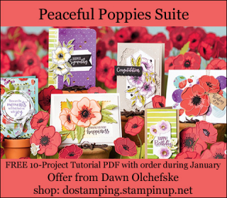 DOstamping January 2020 order BONUS - FREE Peaceful Poppies Suite 10-Project Tutorial PDF, shop with Dawn Olchefske, https://bit.ly/shopwithdawn | #dostamping #peacefulpoppies #cardmaking