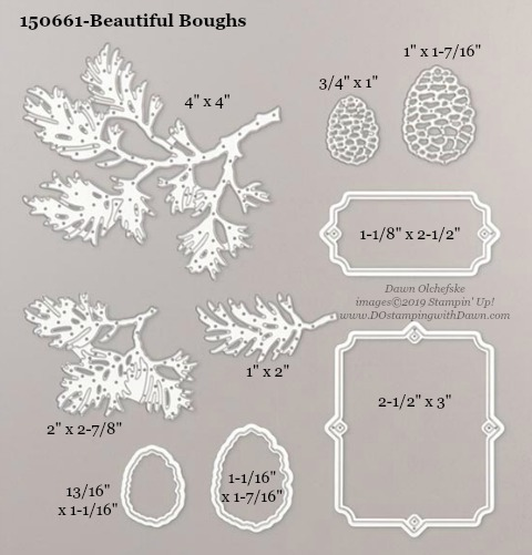 Stampin' Up! Holiday Catalog Beautiful Boughs Die sizes shared by Dawn Olchefske #dostamping  #stampinup #handmade #cardmaking #stamping #diy #rubberstamping #papercrafting #dies