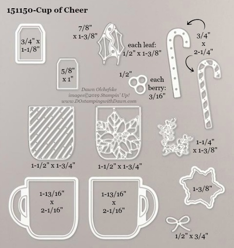 Stampin' Up! Holiday Catalog Cup of Cheer Die sizes shared by Dawn Olchefske #dostamping  #stampinup #handmade #cardmaking #stamping #diy #rubberstamping #papercrafting #dies