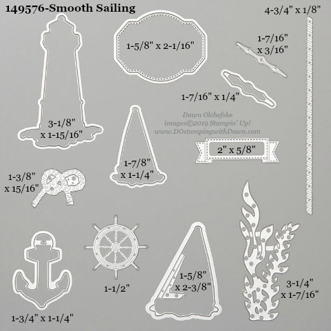 Stampin' Up! Smooth Sailing Dies sizes shared by Dawn Olchefske #dostamping #stampinup #papercrafting #diecutting #stampindies