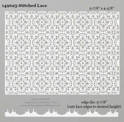 Stampin' Up! Stitched Lace Dies sizes shared by Dawn Olchefske #dostamping #stampinup #papercrafting #diecutting #stampindies