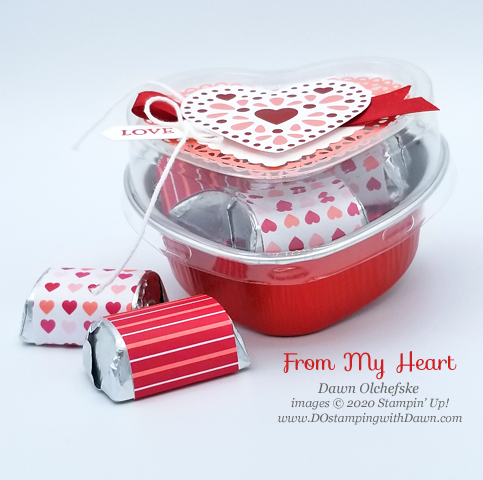Stinkin' cute Heart Foil Tin make by Dawn Olchefske #dostamping #howdshedothat #stampinup #handmade  #valentinesday #DOswts330 #treatpackacking #dostamperSTARS