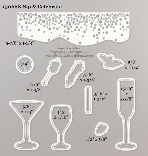 Stampin' Up! Holiday Catalog Sip & Celebrate Die sizes shared by Dawn Olchefske #dostamping  #stampinup #handmade #cardmaking #stamping #diy #rubberstamping #papercrafting #dies