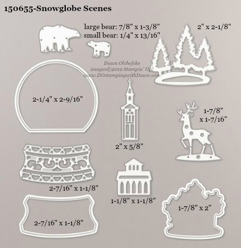 Stampin' Up! Holiday Catalog Snowglobe Scenes Die sizes shared by Dawn Olchefske #dostamping  #stampinup #handmade #cardmaking #stamping #diy #rubberstamping #papercrafting #dies