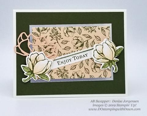 6 stunning Morning Magnolia samples - Magnolia Lane Suite from Stampin' Up! shared by Dawn Olchefske  #dostamping #stampinup #handmade #cardmaking #stamping #papercrafting#morningmagnolia (DeniseJorgensen)