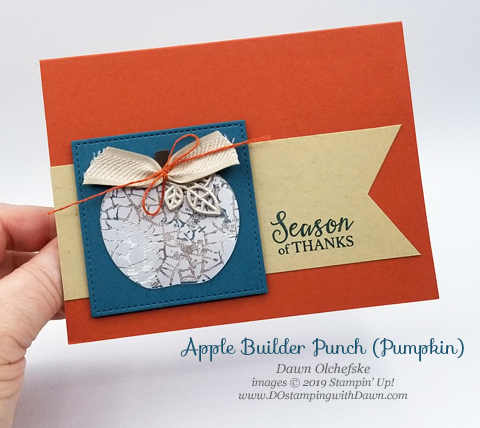 Stampin' Up! Apple Builder Punch & Mercury Glass Designer Acetate card by Dawn Olchefske #dostamping #howdshedothat #stampinup #handmade #cardmaking #stamping #papercrafting
