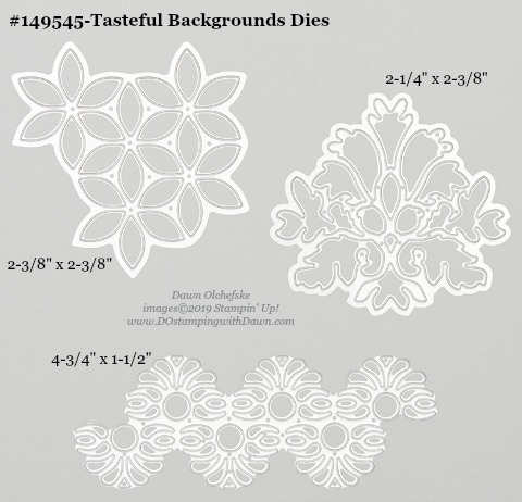 Stampin' Up! Tasteful Backgrounds Dies sizes shared by Dawn Olchefske #dostamping #stampinup #papercrafting #diecutting #stampindies