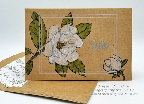 6 stunning Morning Magnolia samples - Magnolia Lane Suite from Stampin' Up! shared by Dawn Olchefske  #dostamping #stampinup #handmade #cardmaking #stamping #papercrafting#morningmagnolia (Judy Garza)