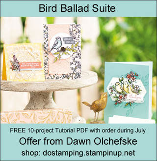 DOstamping July 2019 order BONUS - FREE Bird Ballad Suite 10-Project Tutorial PDF, shop with Dawn Olchefske, https://bit.ly/shopwithdawn | #dostamping #birdballad #cardmaking