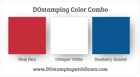 Stampin' Up! color combo Real Red, Whisper White, Blueberry Bushel from Dawn Olchefske #dostamping #stampinup #colorcombo