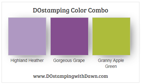Stampin' Up! color combo Highland Heather, Gorgeous Grape, Granny Apple Green from Dawn Olchefske #dostamping #stampinup #colorcombo