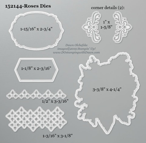 Stampin' Up! Limited Edition Roses Dies sizes shared by Dawn Olchefske #dostamping #stampinup #handmade #cardmaking #stamping #diy #rubberstamping #papercrafting #dies