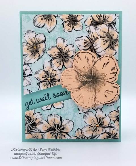 Stampin' Up! Parisian Blossom Tropical Oasis swap shared by Dawn Olchefske #dostamping #howdshedothat #stampinup #handmade #cardmaking #stamping #papercrafting (Pam Watkins)