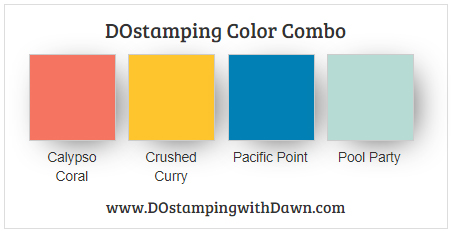 Stampin' Up! color combo Calypso Coral, Crushed Curry, Pacific Point, Pool Party by Dawn Olchefske #dostamping #stampinup #colorcomb