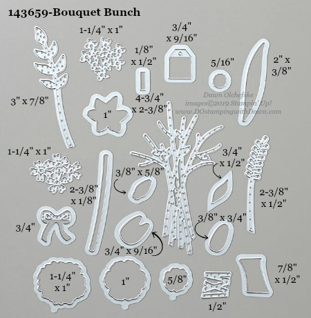 Stampin' Up! Bouquet Bunch Dies sizes shared by Dawn Olchefske #dostamping #stampinup #papercrafting #diecutting #stampindies