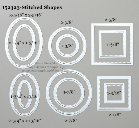 Stampin' Up! Stitched Shapes Dies sizes shared by Dawn Olchefske #dostamping #stampinup #papercrafting #diecutting #stampindies