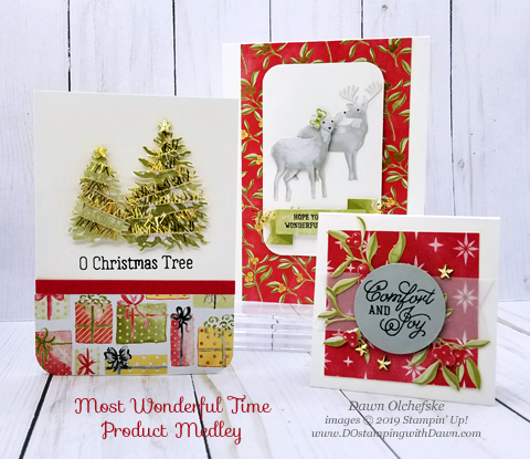 Stampin' Up! Most Wonderful Time Product Medley cards shared by Dawn Olchefske #dostamping #stampinup #handmade #cardmaking #stamping #papercrafting #christmascards