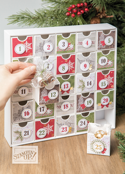 Christmas Countdown Project Kit - Dawn Olchefske Holiday Favorites! #dostamping #stampinup #handmade #cardmaking #stamping #papercrafting  #2019SUholiday