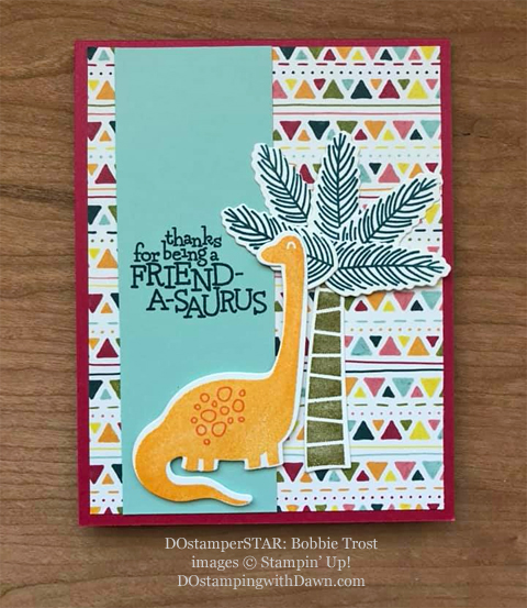 Stampin' Up! Designer Series Paper Sale featuring Dinoroar Designer Series Paper shared by Dawn Olchefske #dostamping #stampinup #papercrafting (Bobbie Trost)
