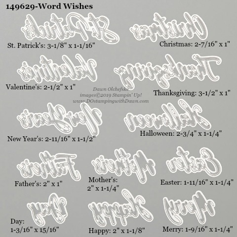 Stampin' Up! Word Wishes Dies sizes shared by Dawn Olchefske #dostamping #stampinup #papercrafting #diecutting #stampindies