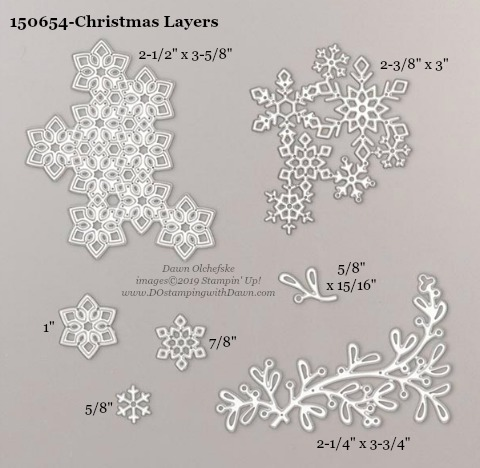 Stampin' Up! Holiday Catalog Christmas Layers Die sizes shared by Dawn Olchefske #dostamping  #stampinup #handmade #cardmaking #stamping #diy #rubberstamping #papercrafting #dies