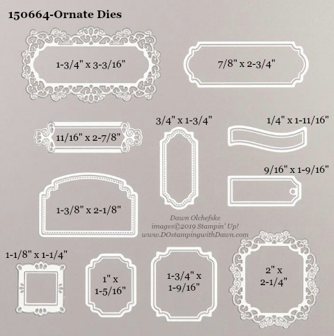 Stampin' Up! Holiday Catalog Ornate Frames Die sizes shared by Dawn Olchefske #dostamping  #stampinup #handmade #cardmaking #stamping #diy #rubberstamping #papercrafting #dies