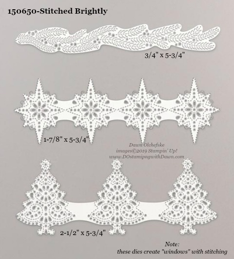 Stampin' Up! Holiday Catalog Stitched Brightly Die sizes shared by Dawn Olchefske #dostamping  #stampinup #handmade #cardmaking #stamping #diy #rubberstamping #papercrafting #dies