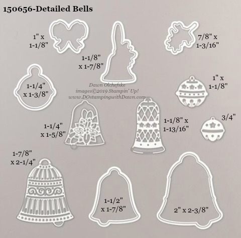 Stampin' Up! Holiday Catalog Detailed Bells Die sizes shared by Dawn Olchefske #dostamping  #stampinup #handmade #cardmaking #stamping #diy #rubberstamping #papercrafting #dies