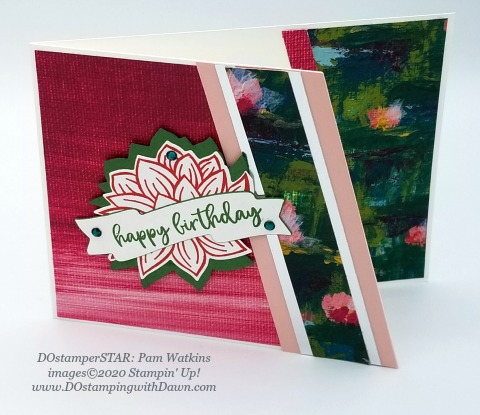 Stampin' Up! Lovely Lily Pad swap card shared by Dawn Olchefske #dostamping #howdshedothat #stampinup #handmade #cardmaking #stamping #papercrafting (Pam Watkins)