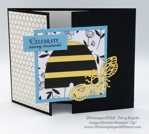 Stampin' Up! Golden Honey Specialty Designer Series Paper swap card shared by Dawn Olchefske #dostamping #howdshedothat #stampinup #handmade #cardmaking #stamping #papercrafting (Terry Rajala)