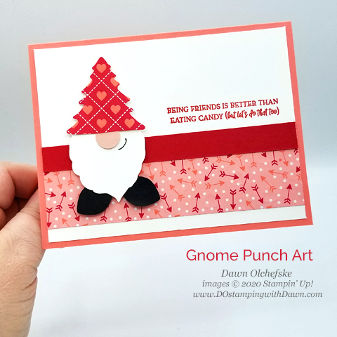 Valentine Gnome Punch Art shared by Dawn Olchefske #dostamping #howdshedothat #stampinup #handmade #cardmaking #punchart #papercrafting  #valentinesday