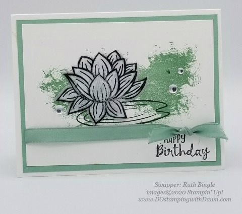 Stampin' Up! Lovely Lily Pad swap card shared by Dawn Olchefske #dostamping #stampinup #handmade #cardmaking #stamping #papercrafting(Ruth Bingle)