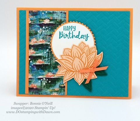 Stampin' Up! Lovely Lily Pad swap card shared by Dawn Olchefske #dostamping #stampinup #handmade #cardmaking #stamping #papercrafting (Bonnie O'Neill)