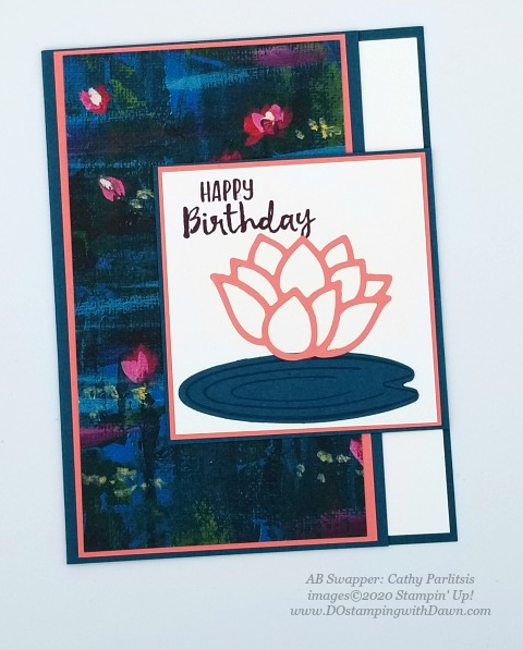 Stampin' Up! Lovely Lily Pad swap card shared by Dawn Olchefske #dostamping #stampinup #handmade #cardmaking #stamping #papercrafting (Cathy Parlitsis)