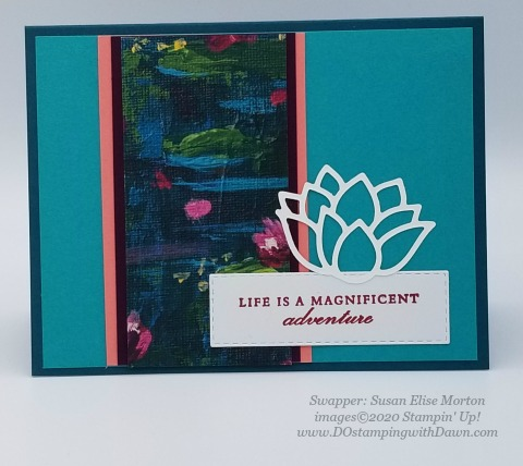 Stampin' Up! Lovely Lily Pad swap card shared by Dawn Olchefske #dostamping #stampinup #handmade #cardmaking #stamping #papercrafting (Susan Elise Morton)