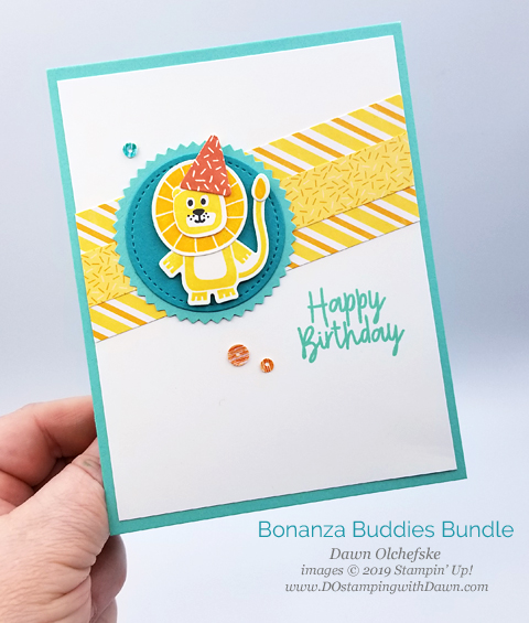 Stampin' Up! Birthday Bonanza Suite card by Dawn Olchefske for Stamping with the STARS Inspiration Hop #DSC329 #dostamping #stampinup #handmade #cardmaking #stamping #papercrafting #DOstamperSTARS #birthdaycards
