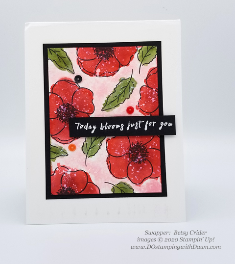 Stampin' Up! Peaceful Poppies swaps shared by Dawn Olchefske #dostamping #howdshedothat #stampinup #handmade #cardmaking #stamping #papercrafting #paintedpoppies (Betsy Crider)
