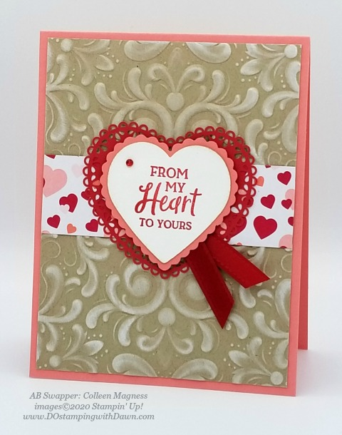 Stampin' Up! From My Heart swaps shared by Dawn Olchefske #dostamping #howdshedothat #stampinup #handmade #cardmaking #stamping #papercrafting #frommyheart (Colleen Magness)